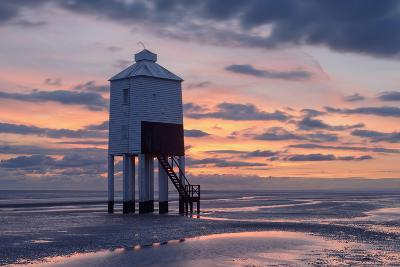 The Wooden Lighthouse at Burnham-On-Sea, Somerset, During a Colourful Sunset-Stephen Spraggon-Photographic Print