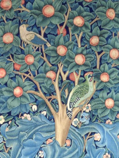 The Woodpecker Tapestry, Detail of the Woodpeckers, 1885 (Tapestry)-William Morris-Premium Giclee Print