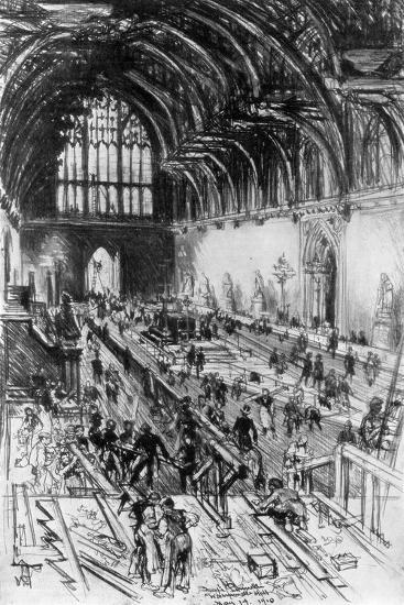 The Workmen in Possession, Westminster Hall, London, 1910-Joseph Pennell-Giclee Print
