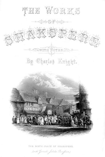 'The Works of Shakspere - The Birth-Place of Shakspere (with Garic's Jubilee Procession)', c1870-Unknown-Giclee Print