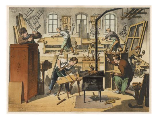 The Workshop of a Carpenter and Joiner, with Various Activities Taking Place--Giclee Print