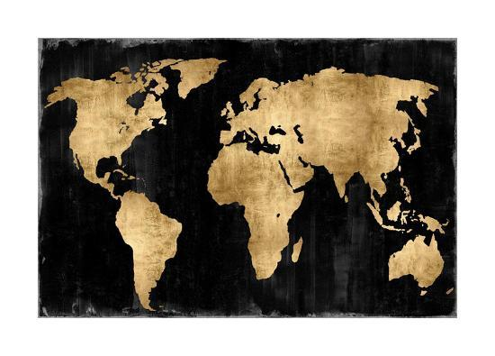 The World - Gold on Black-Russell Brennan-Giclee Print
