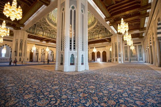 The World's Second Largest Carpet, Main Prayer Hall Floor of the Sultan Qaboos Grand Mosque-Michael Melford-Photographic Print