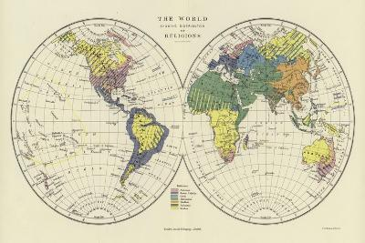 The World Showing Distribution of Religions--Giclee Print