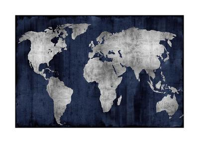 The World - Silver on Blue-Russell Brennan-Giclee Print