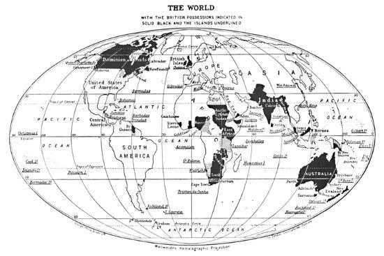 'The World with the British Possessions Indicated in Solid Black and the Islands Underlined', 1924-Unknown-Giclee Print