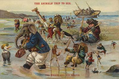 The Wreck and Rescue - the Animal's Trip to Sea--Giclee Print