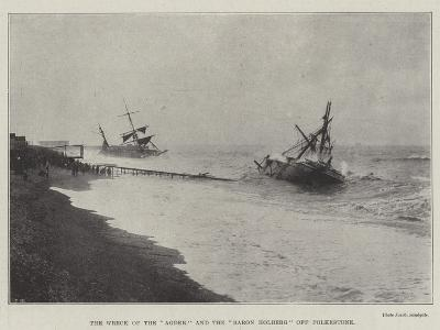 The Wreck of the Agder and the Baron Holberg Off Folkestone--Giclee Print