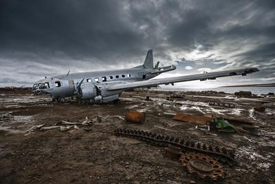 The wreckage of an Ilyushin-14T cargo plane at an old Soviet weather research outpost-Cory Richards-Photographic Print