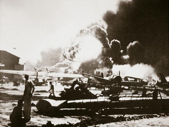 The wreckage-strewn Naval Air Station, Pearl Harbour, 7th December 1941-Unknown-Photographic Print