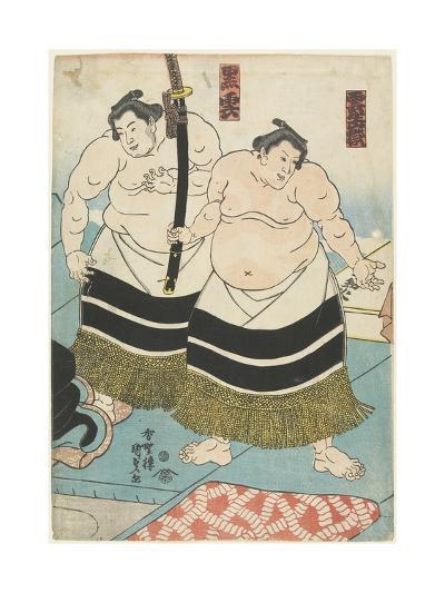 The Wrestlers Unjodake and Kurokumo, 1843-1847-Utagawa Kunisada-Giclee Print