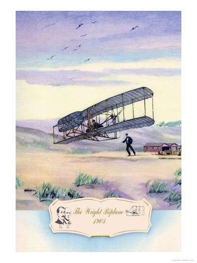 The Wright Biplane, 1903-Charles H. Hubbell-Art Print