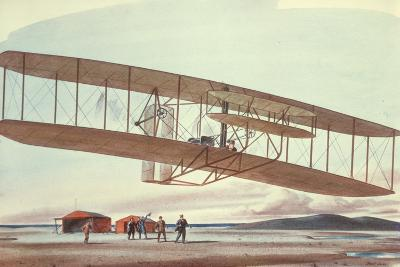 The Wright Brothers at Kitty Hawk, North Carolina, in 1903-American School-Giclee Print
