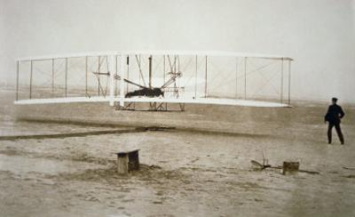 The Wright Brothers Making their First Powered Flight, 17th December, 1903