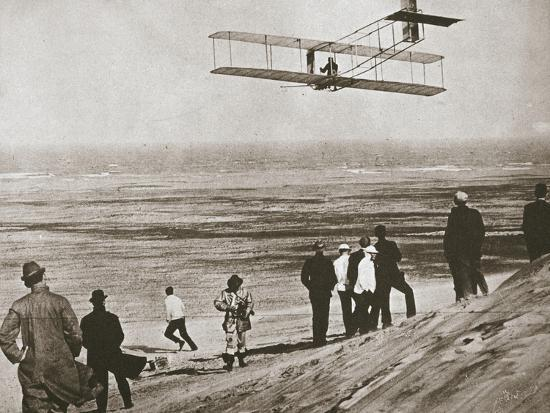 The Wright Brothers testing an early plane at Kitty Hawk, North Carolina, USA, c1903-Unknown-Photographic Print