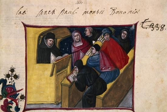 The Writer in the Pulpit with Six Disciples, Miniature from the Summa Casuum Conscientiae-Bartolomeo Da San Concordio-Giclee Print