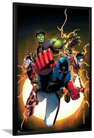 The Young Avengers No.1 Cover: Patriot, Hulkling, Wiccan, Iron Lad, Asgardian and Young Avengers-Jim Cheung-Lamina Framed Poster