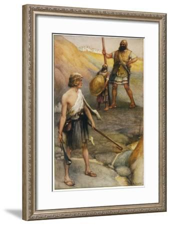 The Young David, Armed Only with a Sling, Faces the Colossal Goliath on the Battlefield--Framed Giclee Print