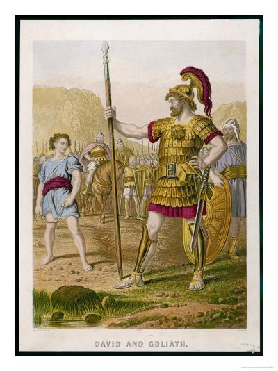 The Young David Challenges the Mighty Goliath--Giclee Print