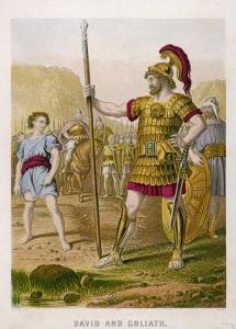 The Young David Challenges the Mighty Goliath