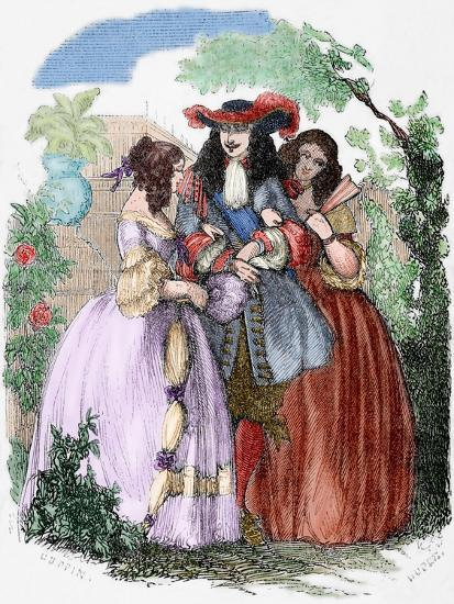 The Young King Strolling with the Mancini Sisters, Nieces of Cardinal Mazarin--Giclee Print