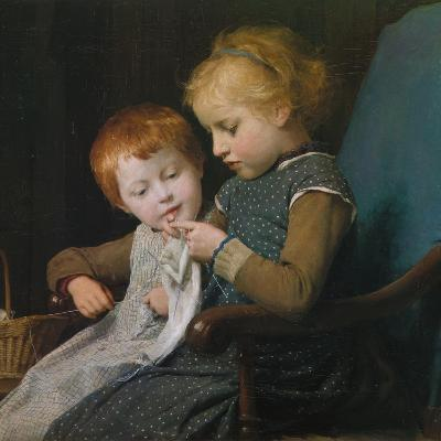 The Young Knitters-Albert Anker-Giclee Print