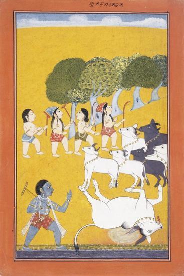 The Young Krishna Kills the Demon Vatsasura--Giclee Print