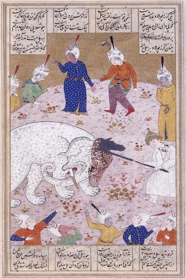 The Young Rustem Slaying the White Elephant, C.1545 (Gouache with Gold Paint on Paper)--Giclee Print