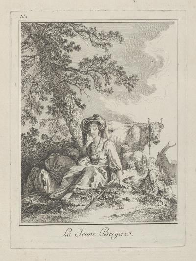 The Young Shepherdess, Plate Two from Divers Habillements Des Peuples Du Nord, 1765-Jean-Baptiste Le Prince-Giclee Print