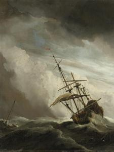 A Ship on the High Seas Caught by a Squall, Known as the 'Gust', 1680 by The Younger Velde Willem Van De