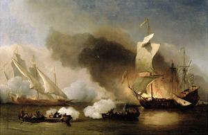An Action Off the Barbary Coast with Galleys and English Ships, c.1695 by The Younger Velde Willem Van De