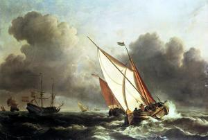 Dutch Shipping Offshore in a Rising Gale by The Younger Velde Willem Van De