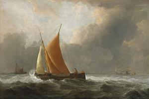 Kaag Close-Hauled in a Fresh Breeze, 1677 by The Younger Velde Willem Van De