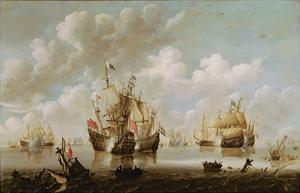 Naval Battle by The Younger Velde Willem Van De