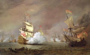 Sea Battle of the Anglo-Dutch Wars, c.1700 by The Younger Velde Willem Van De