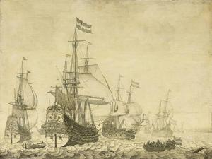 Seascape with Dutch Men-of-War including the 'Drenthe' and the 'Prince Frederick-Henry', c.1670 by The Younger Velde Willem Van De