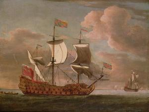 The British Man-O'-War `The Royal James' Flying the Royal Ensign Off a Coast by The Younger Velde Willem Van De