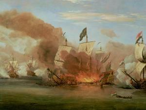 "The Burning of ""The Royal James"" at the Battle of Sole Bank, 6th June 1672 by The Younger Velde Willem Van De"