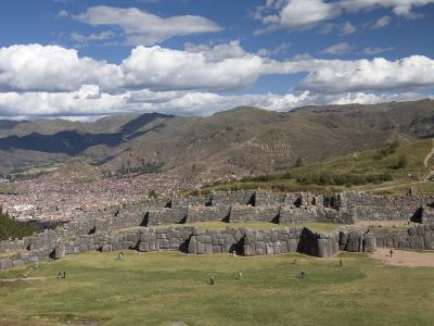 The Zig-Zag Fortress of Sacsayhuaman, with Cuzco in the Background, Cuzco, Peru, South America-Richard Maschmeyer-Photographic Print
