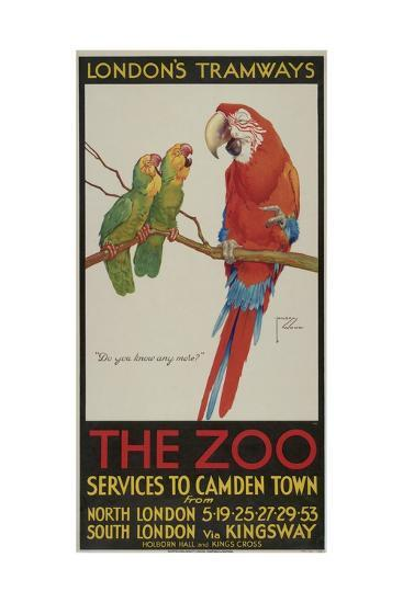 The Zoo, London County Council (Lc) Tramways Poster, 1932-Clarence Lawson Wood-Giclee Print