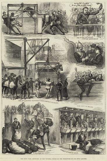 The Zulu War, Sketches at the Victoria Docks on the Departure of the 17th Lancers--Giclee Print