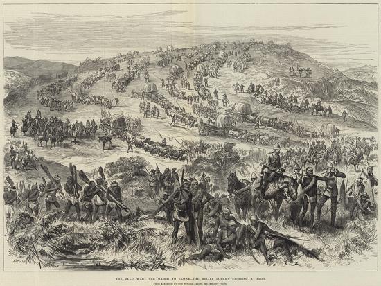 The Zulu War, the March to Ekowe, the Relief Column Crossing a Drift--Giclee Print