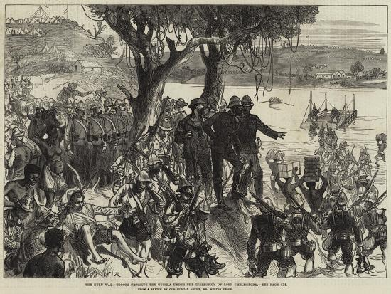 The Zulu War, Troops Crossing the Tugela under the Inspection of Lord Chelmsford--Giclee Print