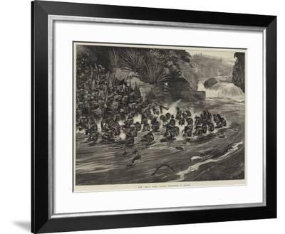 The Zulu War, Zulus Crossing a River-William Heysham Overend-Framed Giclee Print