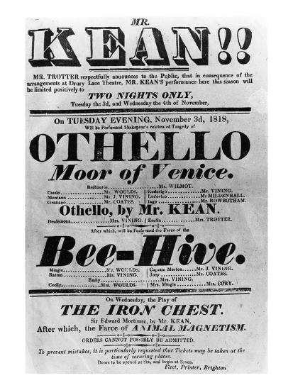 Theatre Bill Advertising Perfomances of Mr. Kean, 1818 (Printed Paper)-English-Giclee Print