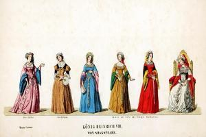 Theatre Costume Designs for Shakespeare's Play, Henry VIII, 19th Century