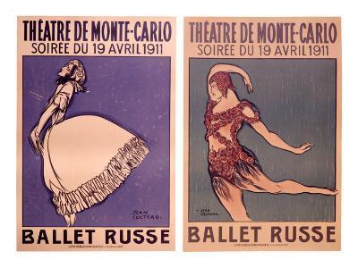 Theatre de Monte Carlo, Ballet Russe-Jean Cocteau-Giclee Print