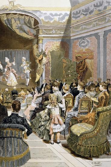 Theatre Scene with Actors and Audiences, France--Giclee Print
