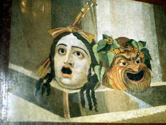 Theatrical masks of tragedy and comedy depicted in a Roman mosaic. Artist: Unknown-Unknown-Giclee Print