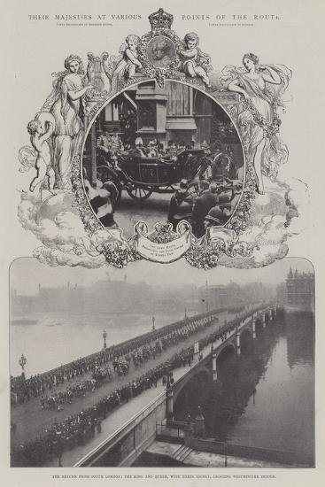 Their Majesties at Various Points of the Route--Giclee Print